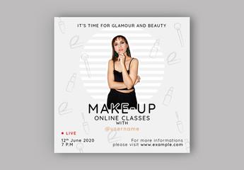 Beauty Online Classes Social Media Layout Set