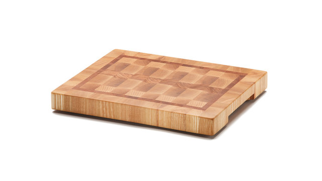 End grain wood butcher block cutting board isolated on white background. Full depth of field
