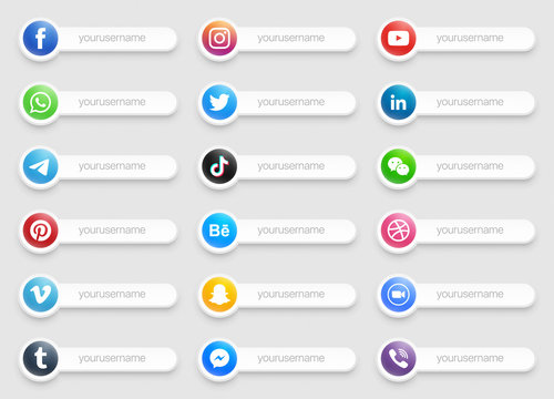 Popular Social Media Lower Third Icons 3D Banner Vector Set Isolated On Light Background. Design Elements For Digital Business And Networking