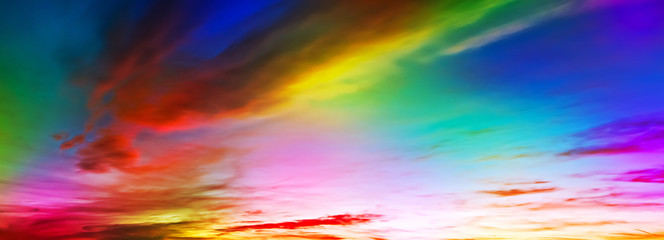 Wall Mural - toned sky with colorful  clouds, panoramic mock-up
