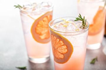 Grapefruit cocktail with rosemary, refreshing cold drink