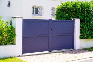 Aluminum modern home grey gate portal of suburb door house