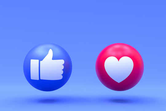 Facebook reactions like and love emoji 3d render,social media balloon symbol with facebook icons pattern