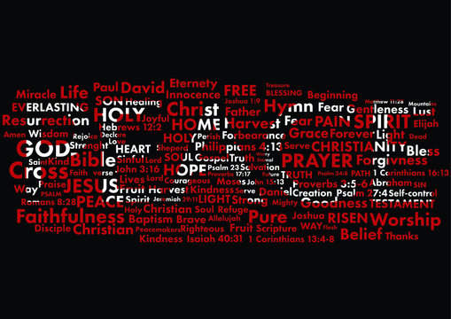 Word peace standing out in white from christian words written with red on black background