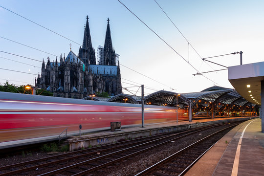 Cologne train station with Cologne Cathedral in the background