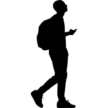 High School College Student Silhouette Vector