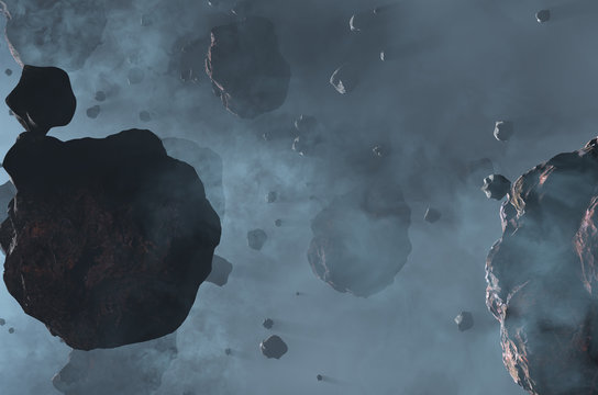 Space asteroid field with dust. Science fiction 3d render illustration.