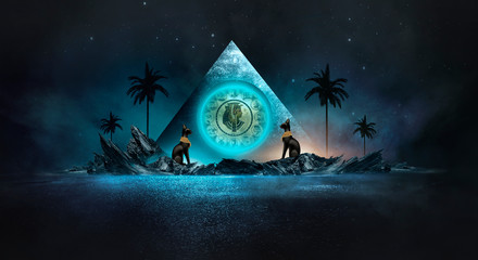 Fotomurales - Futuristic night landscape with abstract landscape and island, moonlight, shine. Dark natural scene with reflection of light in the water, neon blue light. Dark neon circle background. Pyramids