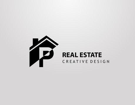 P Letter Logo. house shape with negative letter H, Real Estate Architecture Construction Icon Design.