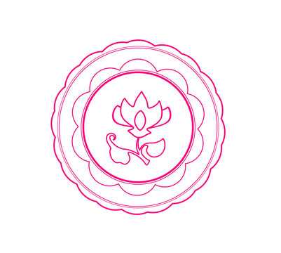 Pink wax seal with flower on white background