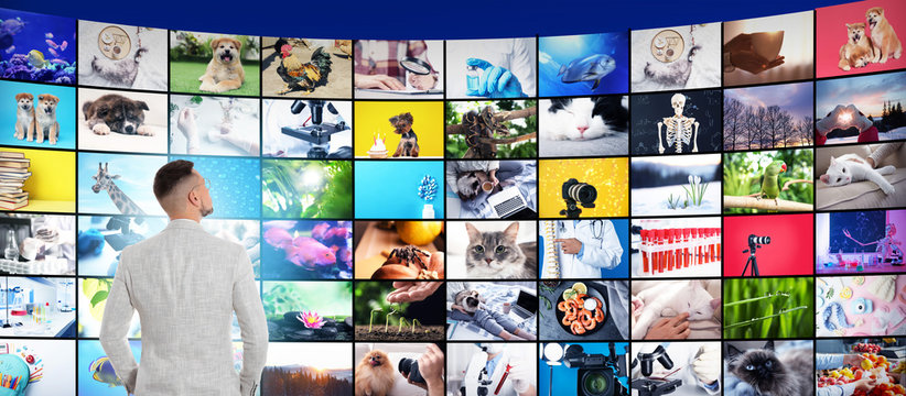 Media library concept. Man using virtual video gallery, banner design