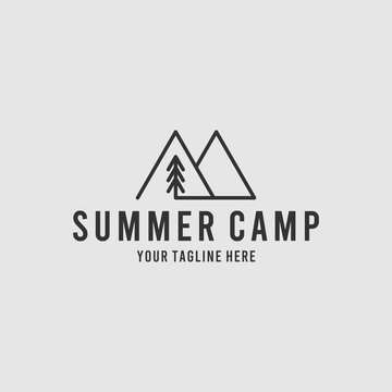 Summer camp minimalist logo design inspiration