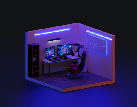 3d render gaming room isometric., 3d illustration.