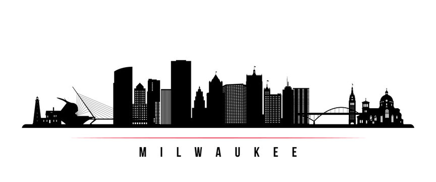 Milwaukee skyline horizontal banner. Black and white silhouette of Milwaukee, Wisconsin. Vector template for your design.