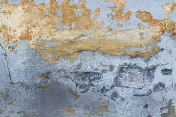 Foto auf AluDibond Alte schmutzig texturierte wand Old cracked wall covered with stucco with abstract watercolor blue, pink and ebony spots of paint. Multicolored vintage background for wallpaper, background and scrapbooking.