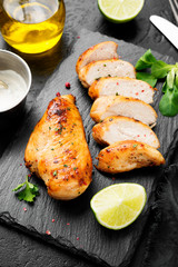 Printed roller blinds Seafoods Grilled chicken breast. Sliced chicken fillet with lime.