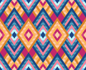 Seamless pattern of rhombuses in native american style. Bright pattern for web, print, textile, wrapping paper, scrapbooking, background and wallpaper. Stock vector illustartion.