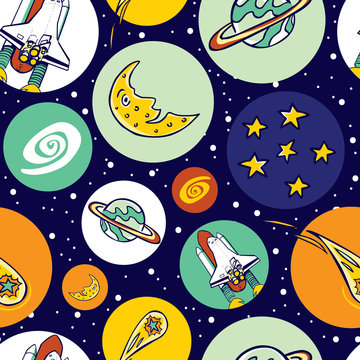 Vector colourful space shuttle blast off elements in circles repeat pattern. Great for kids school bags and wrapping paper or fabric.