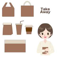 Illustration of a young woman with a set of takeaway icons.