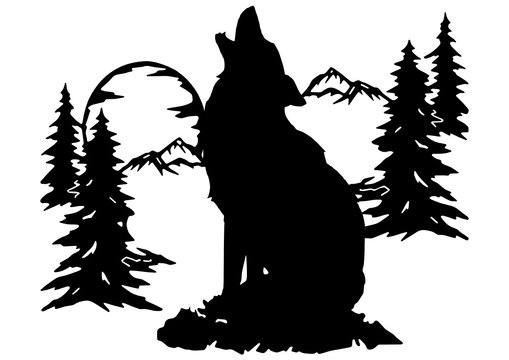 wolf svg black for cutting machine