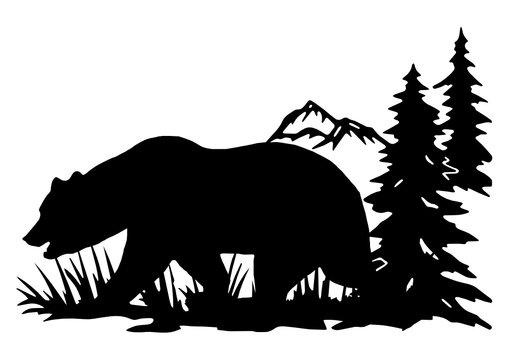 black svg bear for cutting machine