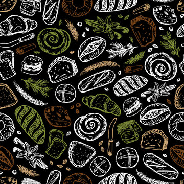 Vector black chalkboard style hand drawn bakery seamless repeat pattern. Suitable for bread packaging, cafe menu design and wallpaper.