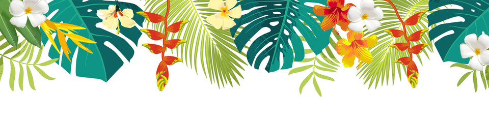 Tropical leaves and flowers border. Summer floral decoration. Horizontal summertime banner. Bright jungle background. Bright colors. Caribean beach party backdrop