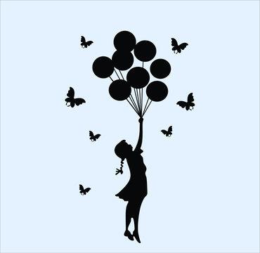 Compre Balão Black Butterfly Girl Recados Decalques DIY Vinil Removível De Banksy Murais De Arte Meninas Pared