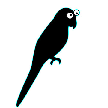 This is a colorful bird parrot simple art cartoon icon logo type animal with two eyes, simple wings fly parrot