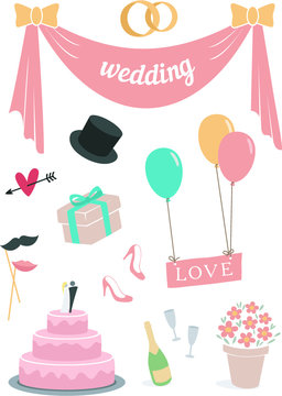 Wedding set of 11 items pastel color