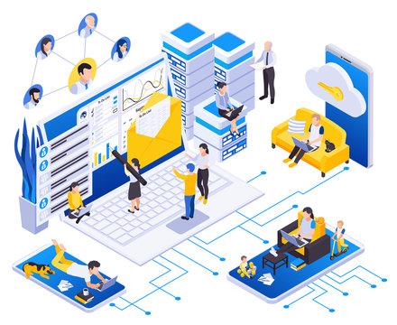 Remote Work Management Isometric