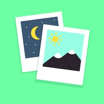 Polaroid photo. Modern flat style. Vector icon