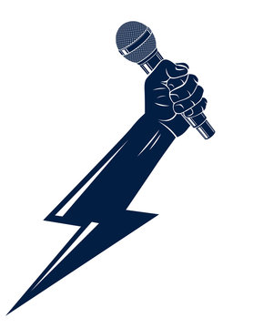 Microphone in hand in a shape of lightning, rap battle rhymes music, karaoke singing or standup comedy, vector logo or illustration, concert festival or night club label, t-shirt print.