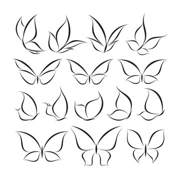 Butterfly. Set of vector logo templates. Stylish and elegant elements for design.