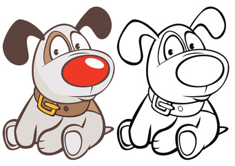 Foto op Textielframe Babykamer Vector Illustration of a Cute Cartoon Character Hunting Dog for you Design and Computer Game. Coloring Book Outline