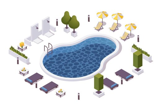 Isometric round pool with outdoor shower, lounger chairs, sunbeds with tables, umbrellas in a hotel or aquapark, villa or cruise ship.