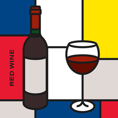Red wine bottle with red wine glass. Modern style art with rectangular shapes. Piet Mondrian style pattern.