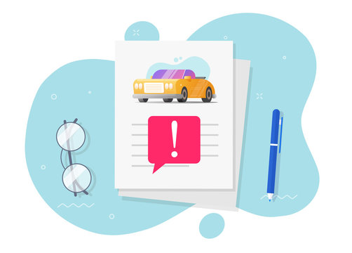 Automobile instruction info document page with important caution notice message or car fake risk history description report with warning vehicle access vector flat cartoon illustration modern design