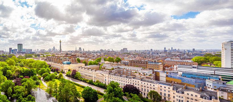Aerial view of Regents park in London, UK