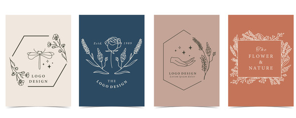 Collection of occult background set with dragonfly,flower.Editable vector illustration for website, invitation,postcard and sticker