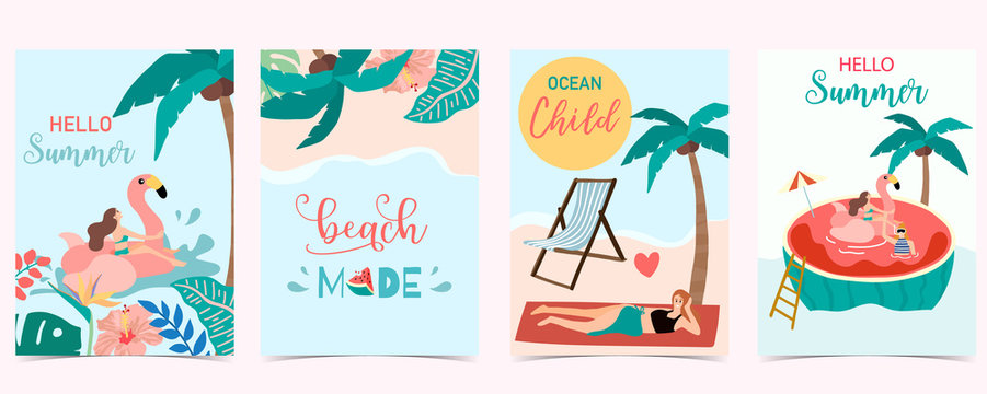 Collection of summer background set with people,watermelon,beach,coconut tree.Editable vector illustration for invitation,postcard and website banner.Hello summer