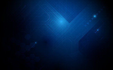 Wall Mural - Abstract  technology Hi-tech futuristic digital with geometric innovation and printed circuit board on dark blue background. vector illustration