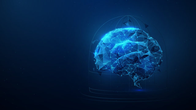 Brain locked in cage from lines, triangles, particle, low poly and wireframe design. Vector illustration