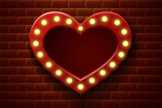 3d realistic vector background retro lightbox billboard for cinema, bar show, restaurant, wedding or events on the brick wall in heart shape.