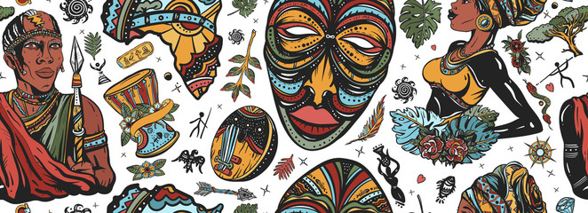 Fototapeta Africa seamless pattern. African woman in traditional turban, maasai warrior,  tribal mask, kalimba, map, drum. Ethnic afro girl and black tribe man. Tradition and culture background. Tattoo art obraz