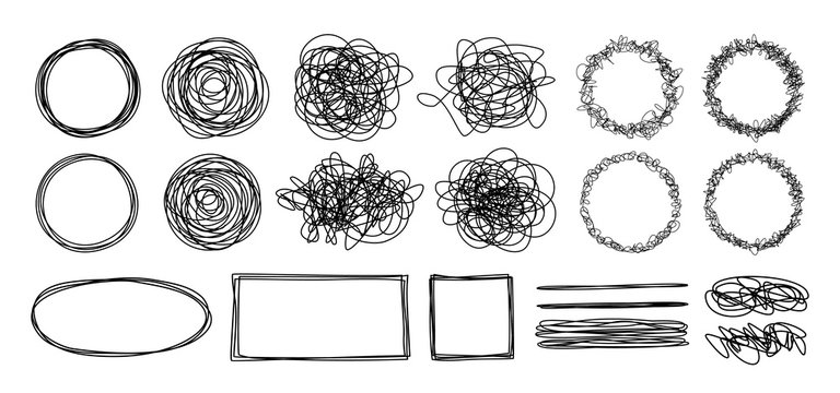 Tangled grungy scribbles isolated on white background