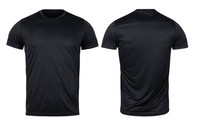 Black sport t-shirt front and back mockup isolated on white background with clipping path.