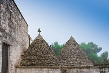 conic stone roof tops of traditional houses called trulli. Alberobello, Italy
