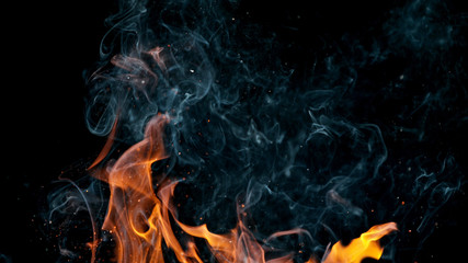 Printed roller blinds Fire / Flame fire flames with sparks on a black background, close-up