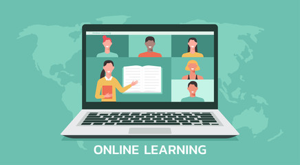 e-learning or online education, home school, teacher teaching students on computer laptop screen, distance learning all over the world, online course concept, new normal, vector flat illustration